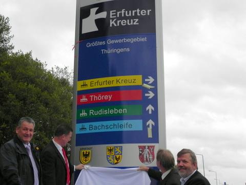 Der Pylon und die Väter: Uwe Möller, Holger Hunstock, Benno Kaufhold und Ulrich Böttcher